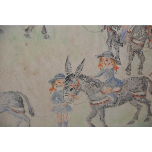 "Blue Jean Lareuse ""School Girls on a Donkey Ride"" Original Watercolor C.1950 For Sale - Image 8 of 10"