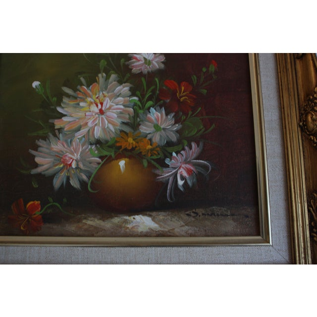 Framed Chrysanthemum Oil Painting - Image 3 of 4