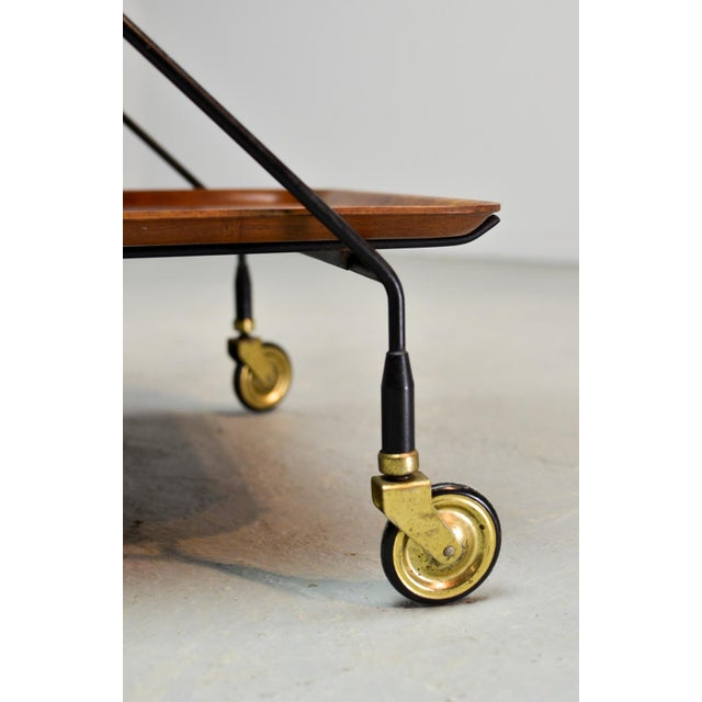 Mid-Century Design Teak and Steel Tea Trolley on Brass wheels by Paul Nagel, Germany 1950s For Sale - Image 10 of 13