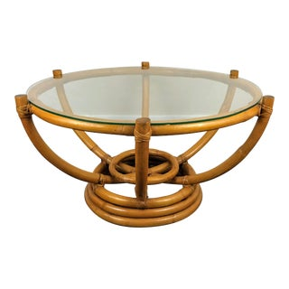 Mid-Century Paul Frankl Pretzel Bamboo Cocktail Table For Sale
