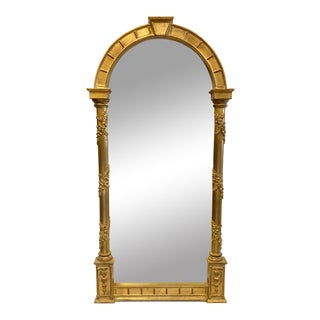 Neoclassical Gold Gilt Carvers Guild Arched Mirror For Sale