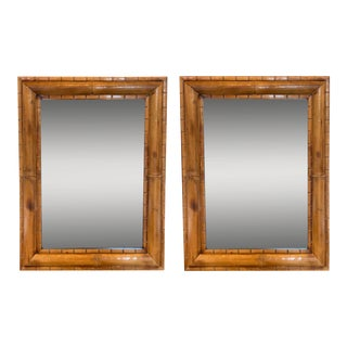 Boho Chic Vintage Burnished Bamboo Mirrors – a Pair For Sale