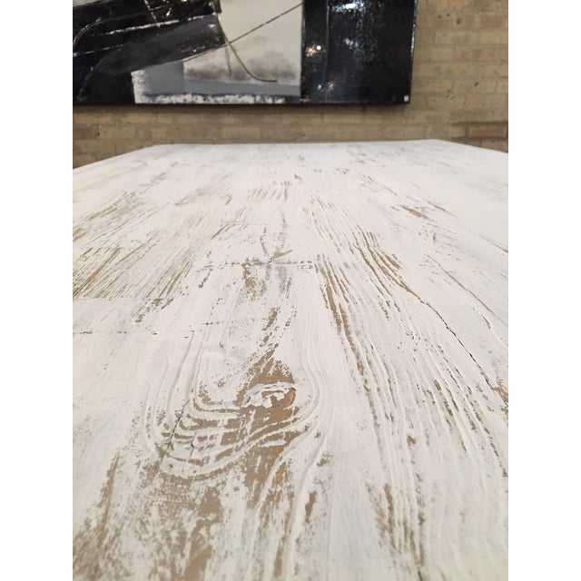 Paint Shabby Chic White Distressed Farmhouse Dining Table For Sale - Image 7 of 10