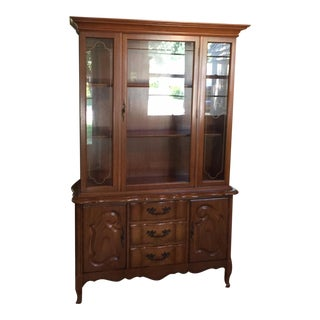 1960s Vintage French Provincial Fruitwood Hutch Cabinet