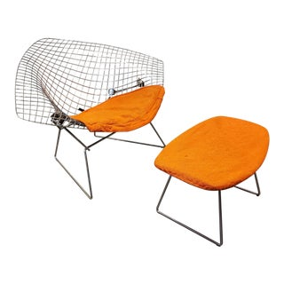 Large Bertoia Style Diamond Chair Repro With Ottoman in Orange For Sale