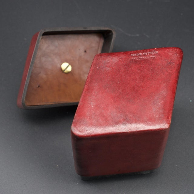 Gold Brass Handled Red Leather Trinket Box Lid ScaccoMatto Italy Midcentury Regency For Sale - Image 8 of 10