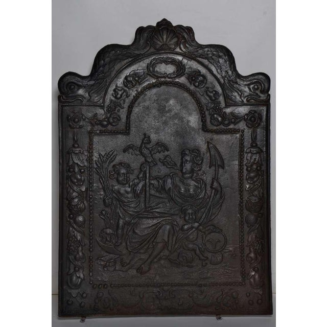 """17th c. Antique Cast Iron Fireback Displaying """"Spes"""" The Goddess Hope For Sale - Image 4 of 7"""