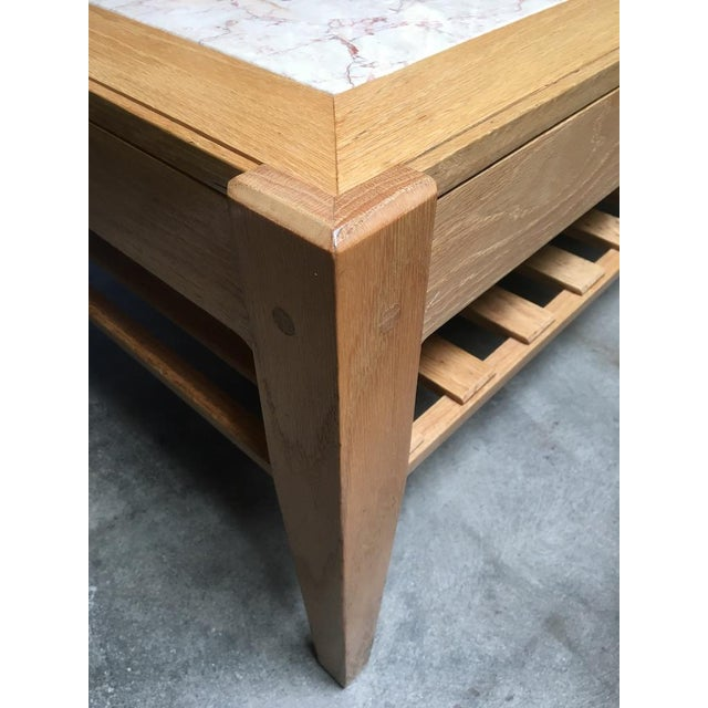 1990s Studio Solid Oak & Pink Marble Insert Coffee Table For Sale - Image 5 of 9