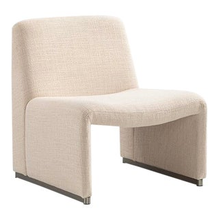 Vesta Columbo Lounge Chair in Off-White and Silver For Sale