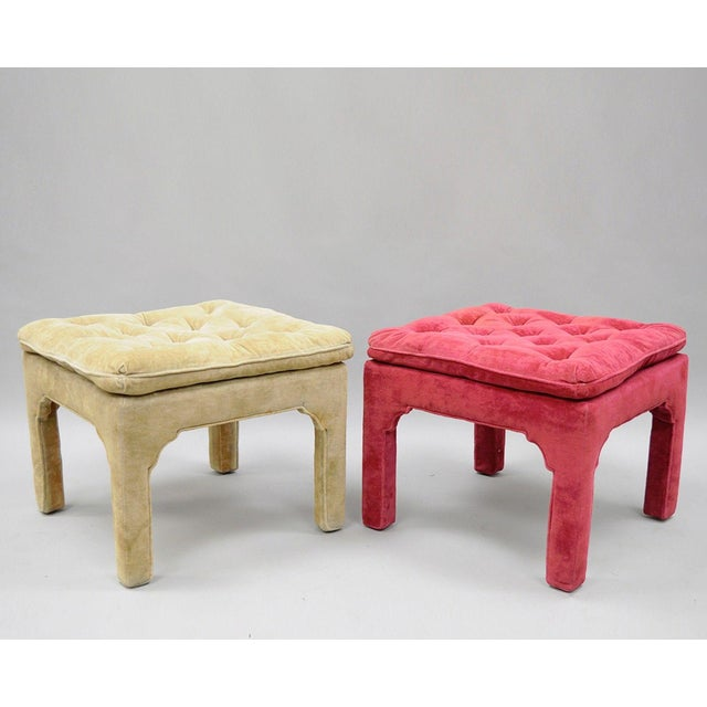 Vintage Hollywood Regency Parson Pink & Beige Stools Upholstered Bench Ottoman - a Pair - Image 11 of 11