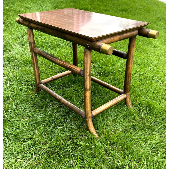 Mid-Century Modern J.B.Van Sciver Dark Wood Rattan and Brass End Table For Sale - Image 3 of 8