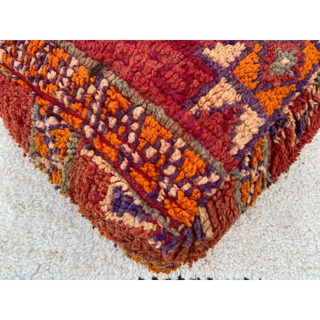Moroccan Red Unstuffed Pouf For Sale - Image 4 of 13