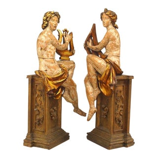 Pair of French Victorian Stripped Lifesize Carved Figures For Sale