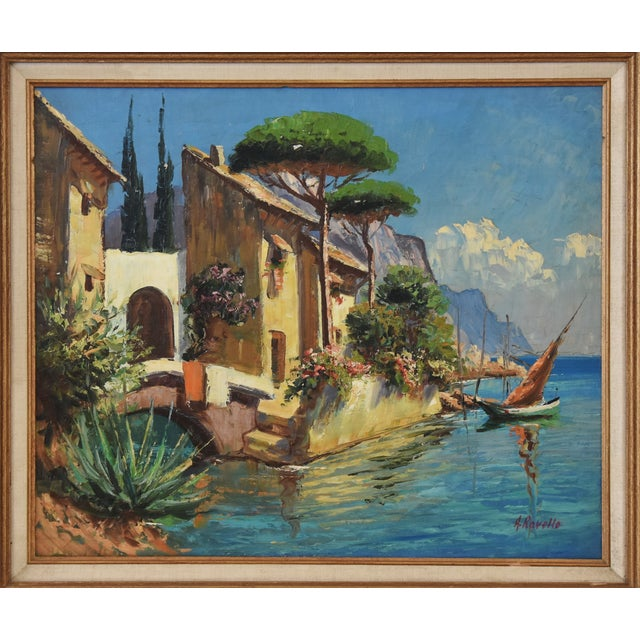 Abstract Midcentury Italian Mediterranean Lake & Village by A. Ravello For Sale - Image 3 of 10