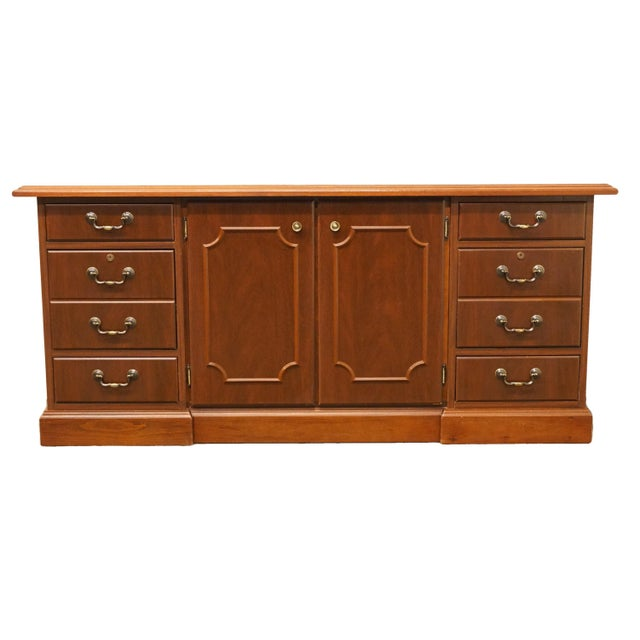 20th Century Traditional Miller Desk Solid Cherry Executive Office Credenza For Sale - Image 13 of 13
