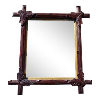 Antique German Hand-Carved Mirror Frame For Sale
