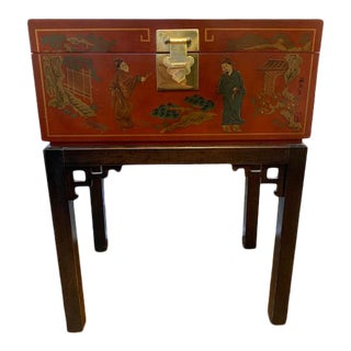 Chinoiserie Oxblood Drexel Chest on Stand For Sale