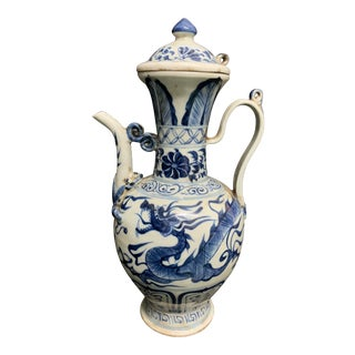 Chinese Art Porcelain Blue and White Teapot Floral and Dragon Design For Sale