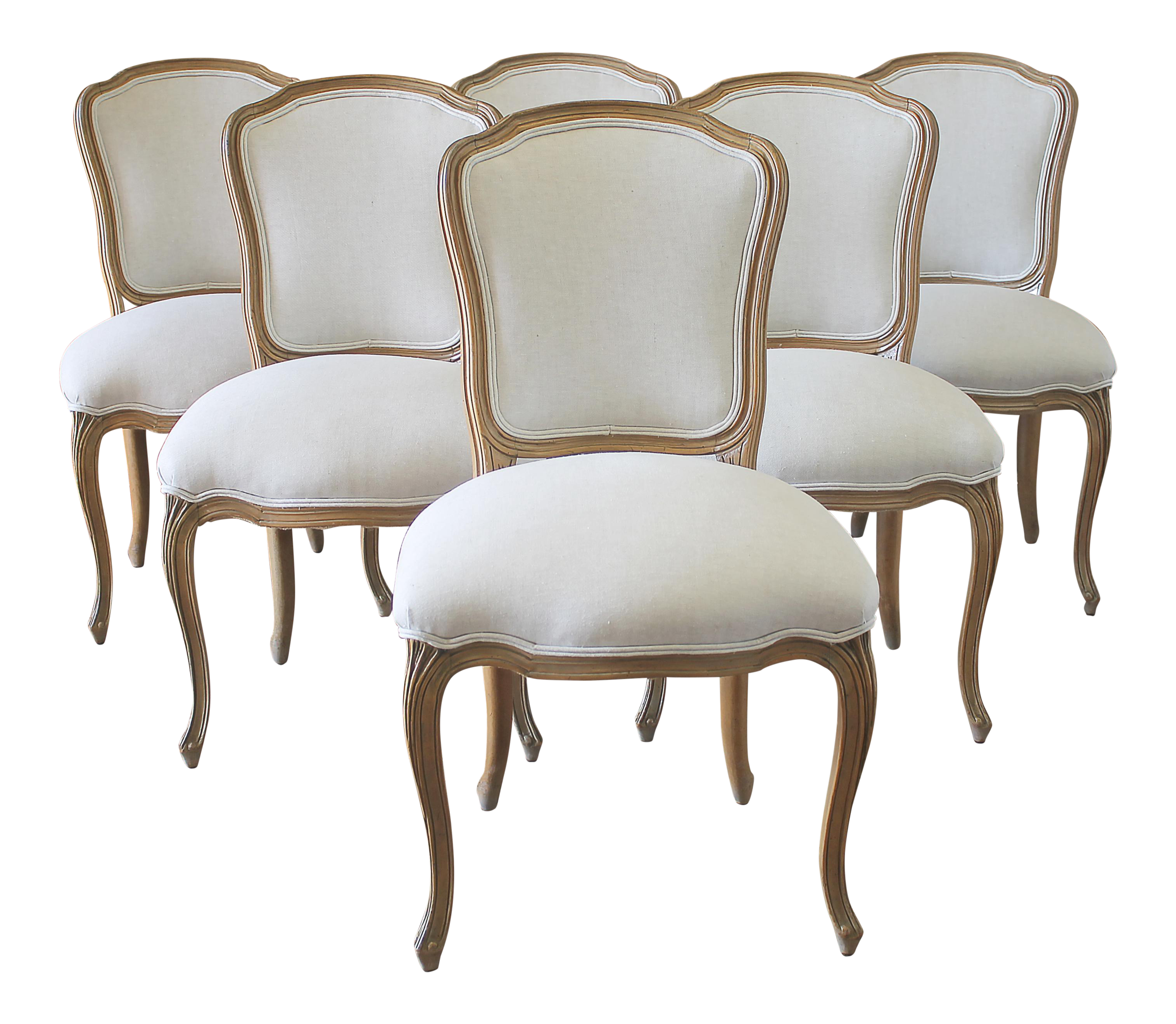 Louis XV Style Wooden Dining Chairs   Set Of 6