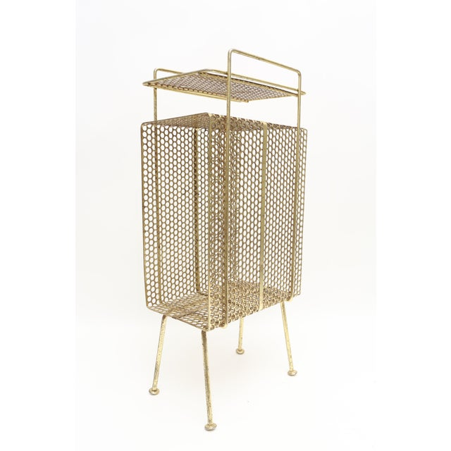 Mid Century Modern Gold Brass Magazine Stand Telephone Side Table For Sale In Los Angeles - Image 6 of 6