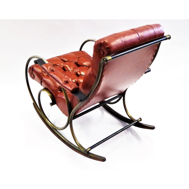 Woodard Furniture Co. 1970s Modern Woodard Sculptural Tufted Leatherette Rocking Chair For Sale - Image 4 of 12