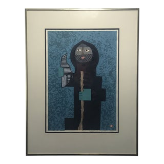 """1958 """"Rescued Bird"""" Abstract Figurative Woodblock Print by Umetaro Azechi, Framed For Sale"""
