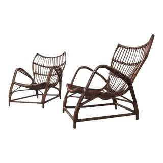 Italian Rattan Bamboo Arm Chairs - a Pair For Sale