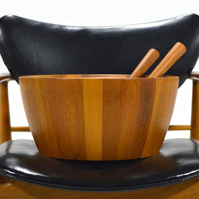 Oversize Staved Teak Bowl & Servers by Richard Nissen For Sale - Image 9 of 12