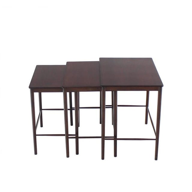 Very Nice Set of Three Rosewood Danish Nesting Tables For Sale - Image 9 of 9