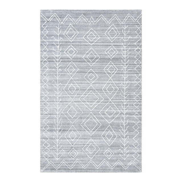 Maxwell, Bohemian Moroccan Hand Loom Area Rug, Silver, 5 X 8 For Sale