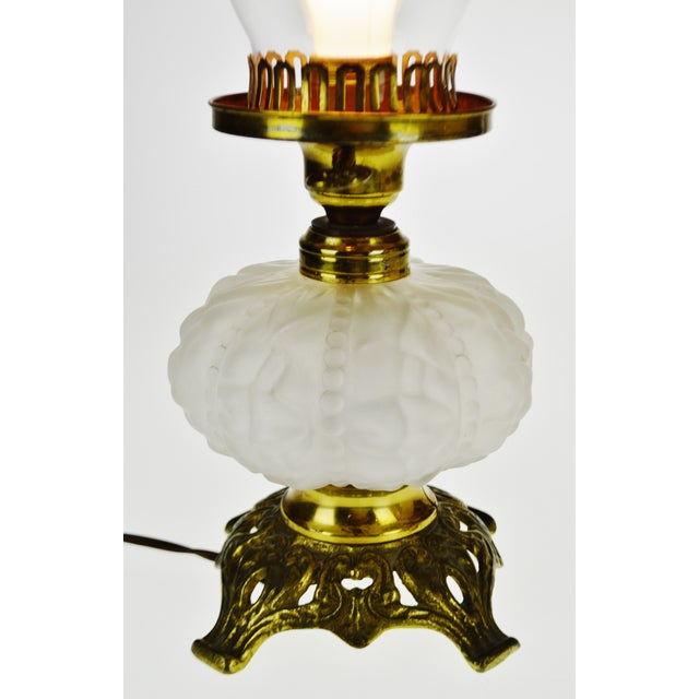 Vintage Electrified Frosted Glass Oil Lamp For Sale In Philadelphia - Image 6 of 13