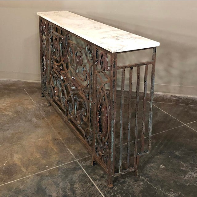 Pair 19th Century Wrought Iron Marble Top Consoles For Sale In Dallas - Image 6 of 13