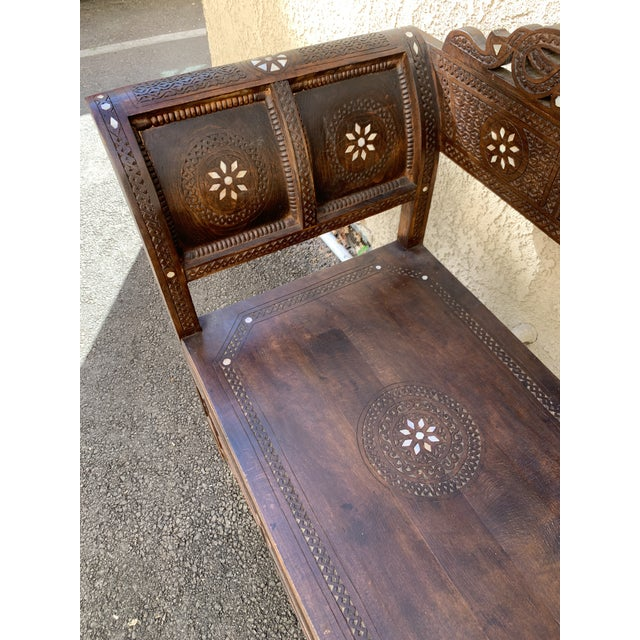 Vintage Mother of Pearl Inlay Morrocan Bench For Sale - Image 4 of 12