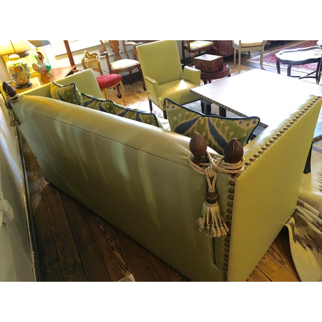 Vintage Lime Leather George Smith Knole Style Sofa For Sale - Image 10 of 11