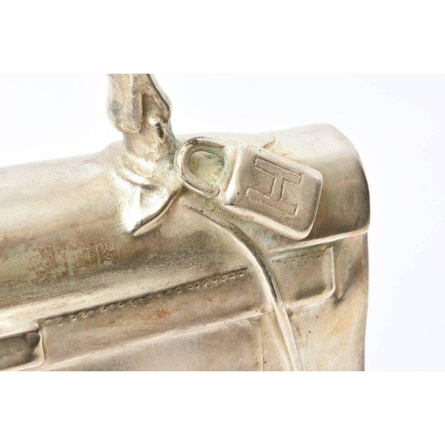 Contemporary Silvered Bronze Limited Edition French Christian Maas Birkin Bag Sculpture For Sale - Image 3 of 11