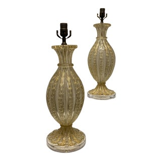 Vintage Restyled 1960s Gold Murano Glass Lamps W/Acrylic Bases - a Pair For Sale