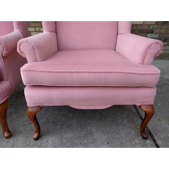 Vintage Queen Anne Pink Velvet Wingback Chairs by Sam Moore Furniture - A Pair - Image 9 of 11