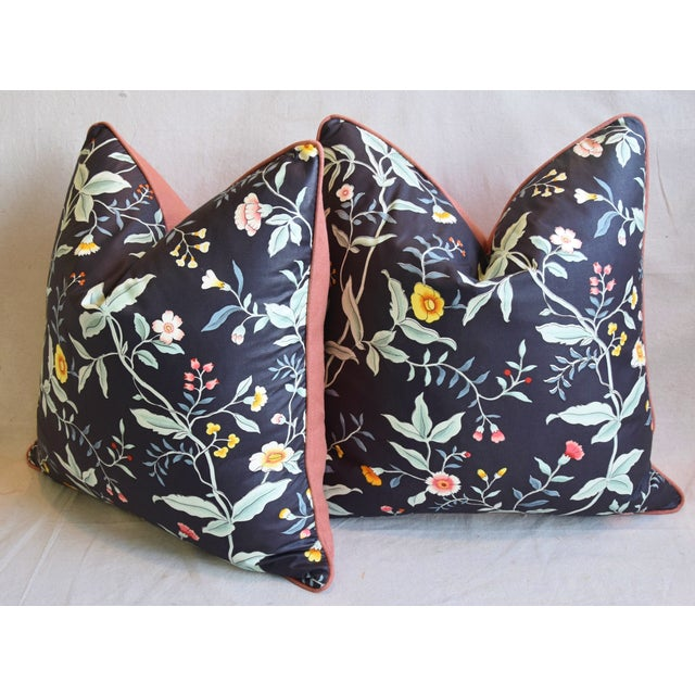 """Designer Clarence House Floral Fabric Feather/Down Pillows 23"""" Square - Pair For Sale - Image 9 of 13"""