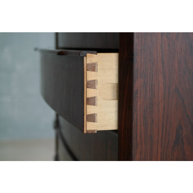 Brown Vintage Danish Mid-Century Rosewood Five-Drawer Dresser For Sale - Image 8 of 11