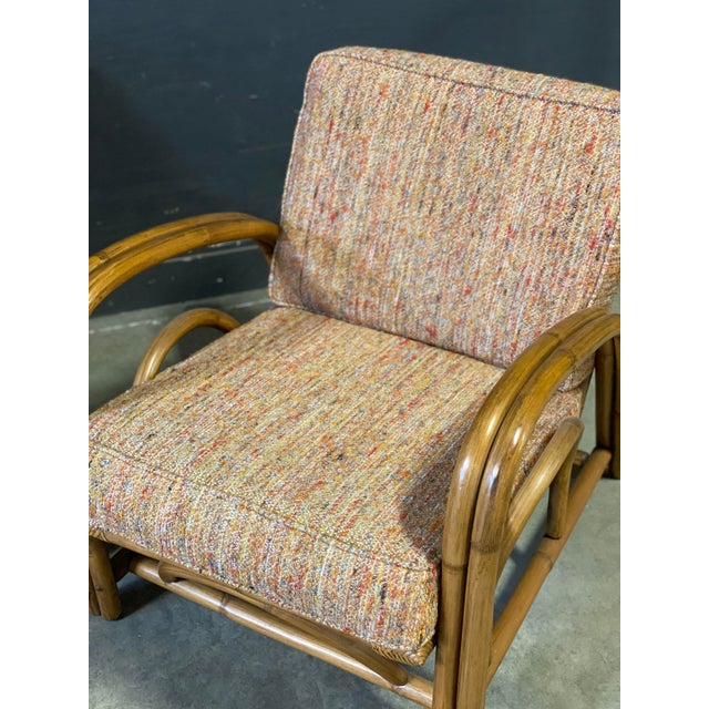 Wood Vintage Paul Frankl Style Rattan Couch & Chairs For Sale - Image 7 of 10