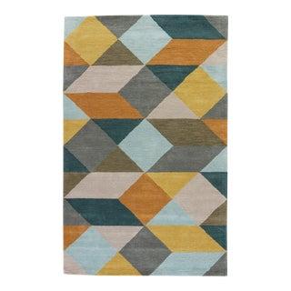 Luli Sanchez by Jaipur Living Ojo Handmade Geometric Gold Teal Area Rug 5'X8' For Sale