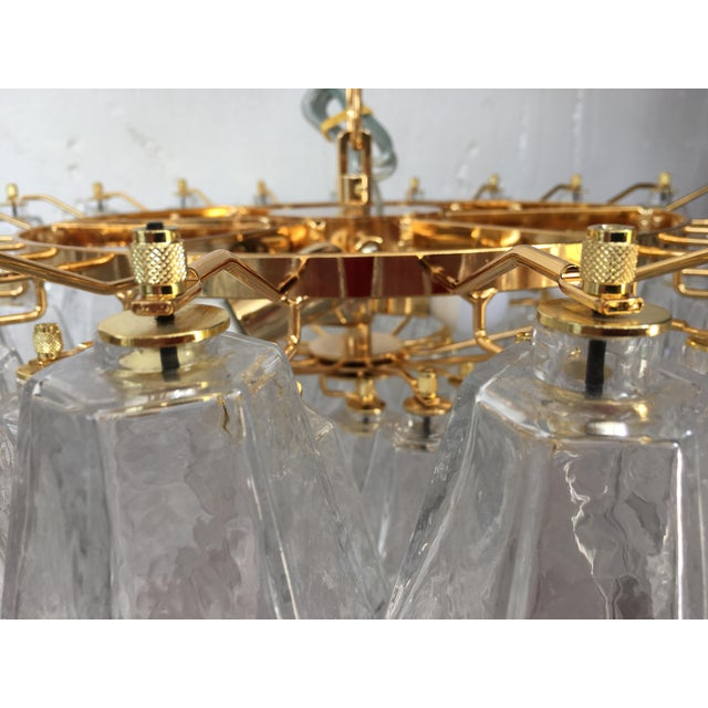 Contemporary Clear Poliedro Murano Glass with 24K Gold Frame Sputnik Chandelier For Sale - Image 3 of 10