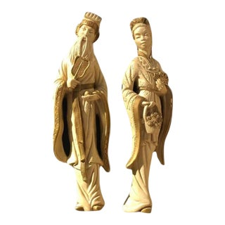 Mid 20th Century Chalkware Emperor and Empress Wall Plaques - a Pair For Sale