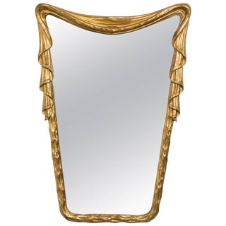 1940s Hollywood Regency Carved Wood Draped Mirror From Italy For Sale