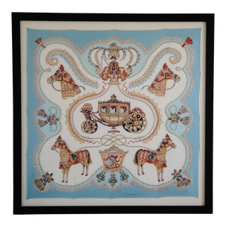 "French Hermes Framed ""Paperoles"" Berline de Gala Carriage Motif Silk Scarf For Sale"