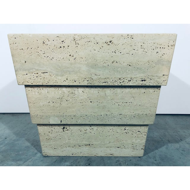 Italian travertine modern side table. Made in Italy in the 1970s.