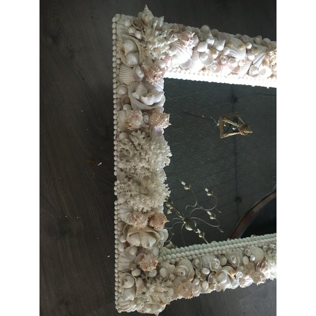 Glass Exceptional Grotto Mirror, Great Attention Paid to Detail From a Promenate Florida Estate. For Sale - Image 7 of 11