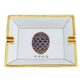 House of Fabergé & Limoges FrancePorcelain Tray With Hand Painted Partial Gilt Pine Cone Egg For Sale