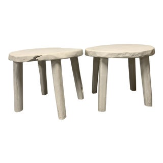 Boho Chic Live Edged Side Tables - a Pair For Sale