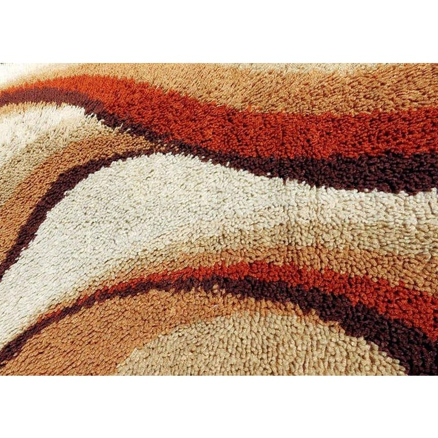 Mid-Century Modern Post Modern Shag Rug with Abstract Design, circa 1970 For Sale - Image 3 of 5